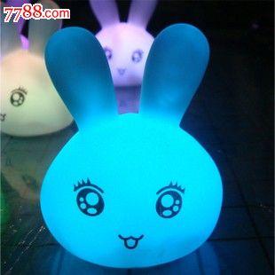 七彩可爱表情兔小夜灯