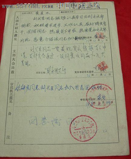 入团志愿书_申请书/函_阿光杂货铺【7788收藏__中国图片