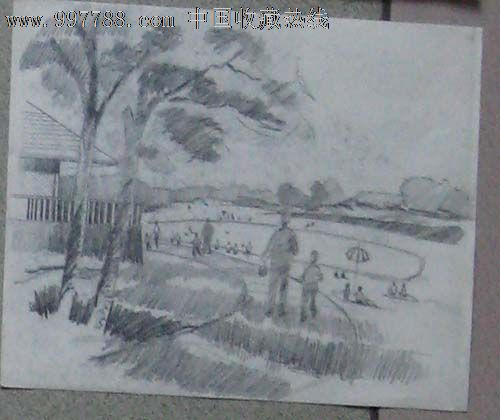 铅笔画风景海边