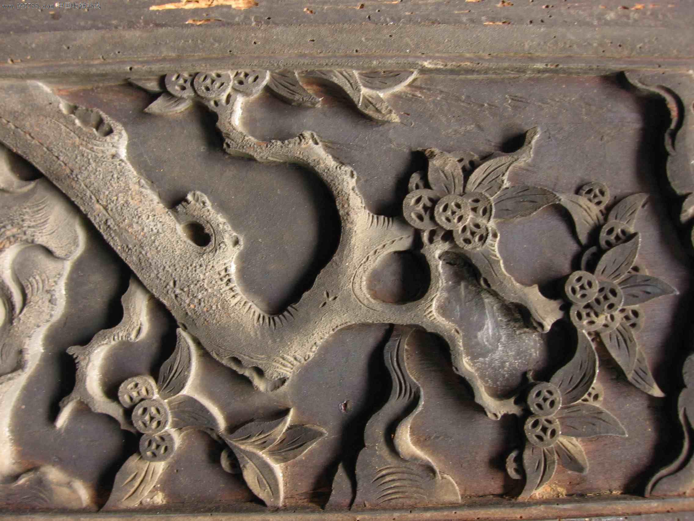 木雕人物山水花板一对