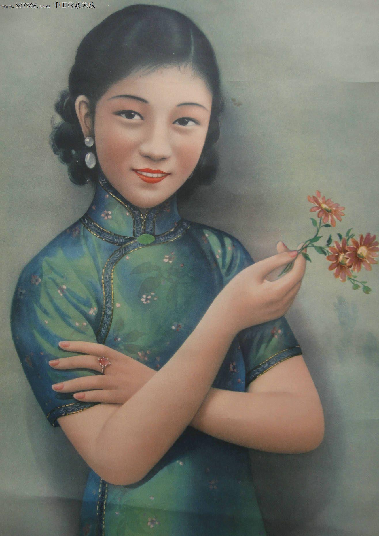 胡伯翔-哈德门香烟-民国美女-旗袍美女-烟广告画-在中国印刷