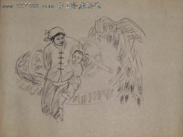 母子素描手绘图