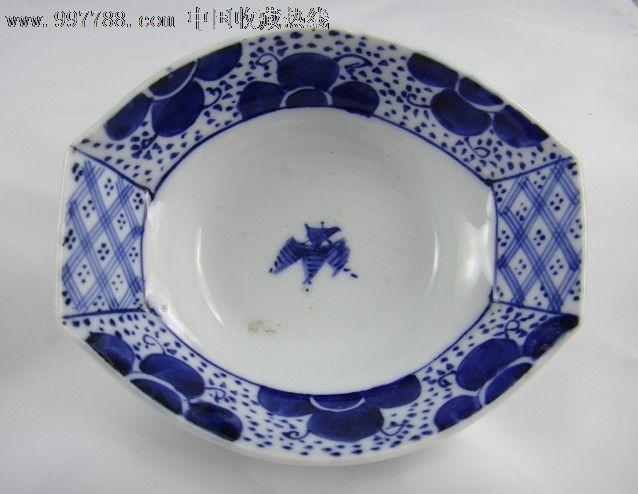 小步古玩※民国日本手绘青花瓷器异形碗