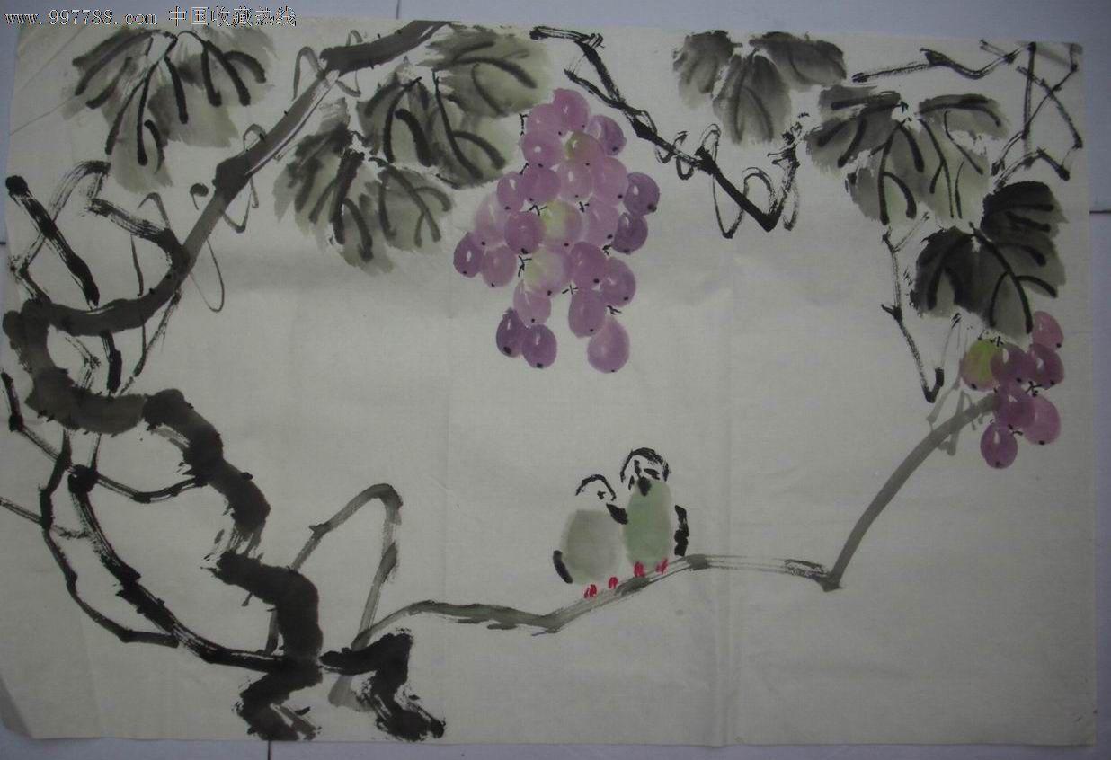 葡萄小鸟【2】_花鸟国画原作_百宝轩【7788收藏__中国