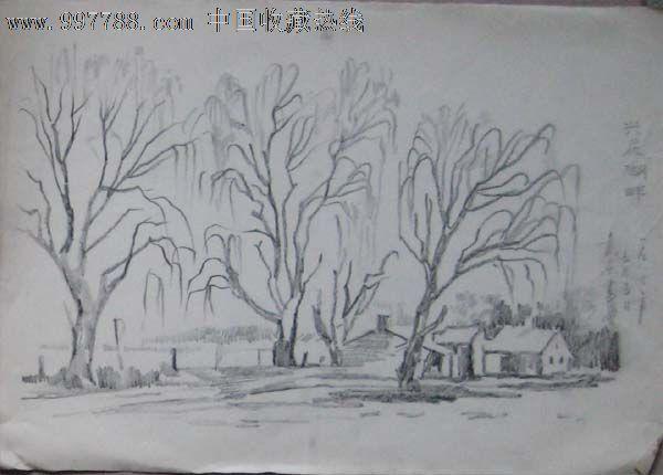 山水风景铅笔画素描