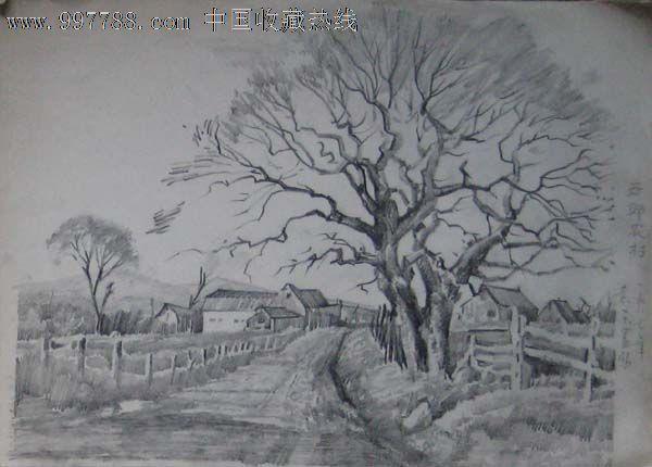 风景素描山水铅笔画