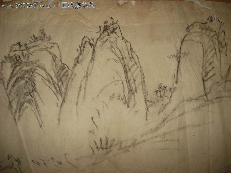 山水素描画步骤