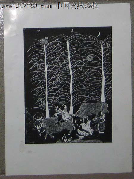 手绘黑白装饰画——树