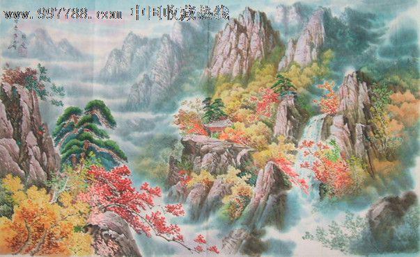 朝鲜手绘山水画原作一幅(二)画面清新明丽,宛若真实意境,美若仙境!图片