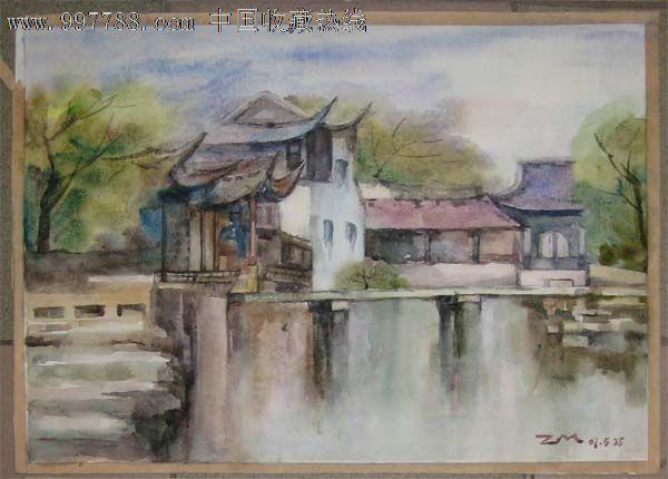 水彩画——水边房子