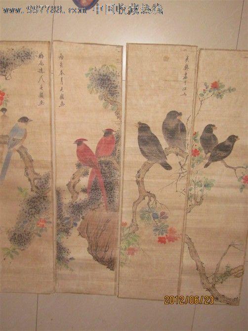 吴镇四条屏花鸟画