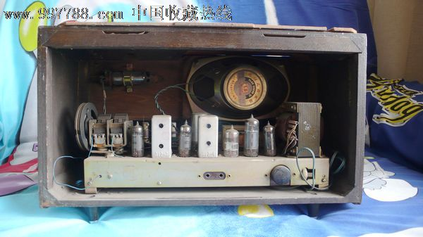 老式电子管收音机红灯711-2*花面布