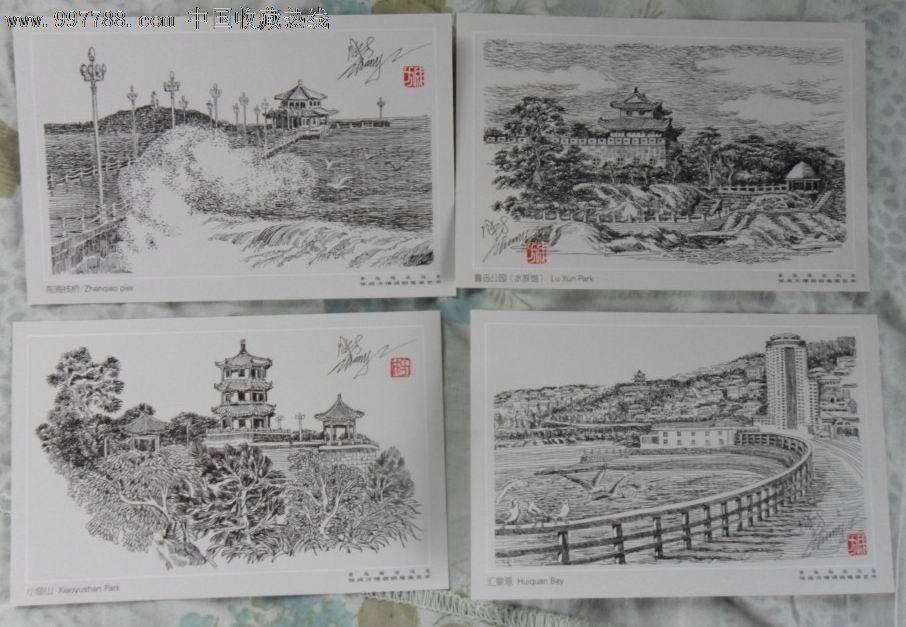 青岛海滨风光(张成方情调钢笔画艺术)