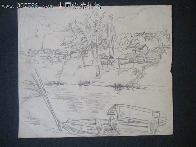 素描山水画铅笔画