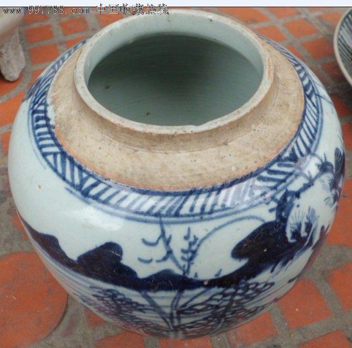 清-乾隆青花山水茶罐_价格680.0000元_第1张_7788收藏__中国收藏热线图片