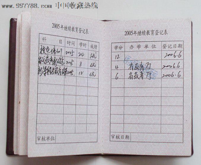 山东省小学教师继续教育证书-价格:17元-se12