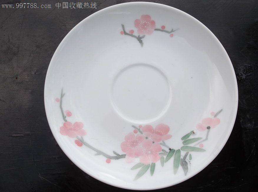 """红官窑""""群力瓷厂""""手绘釉下五彩桃花小碟"""