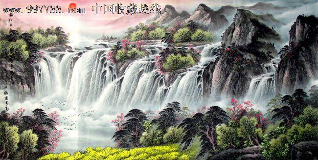 张德泉山水画,一轮红日天如醉,四尺,客厅山水画,收藏佳品,16813