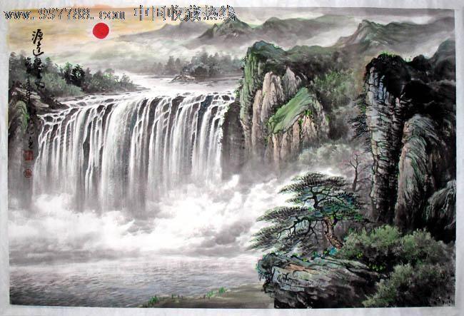 李明诗山水画,源远流长,三尺,客厅山水画,收藏佳品,17085