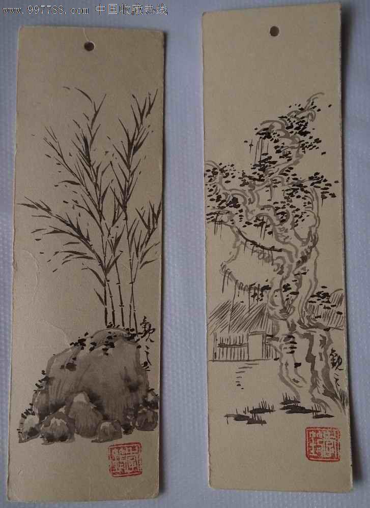 季观之手绘书签两枚