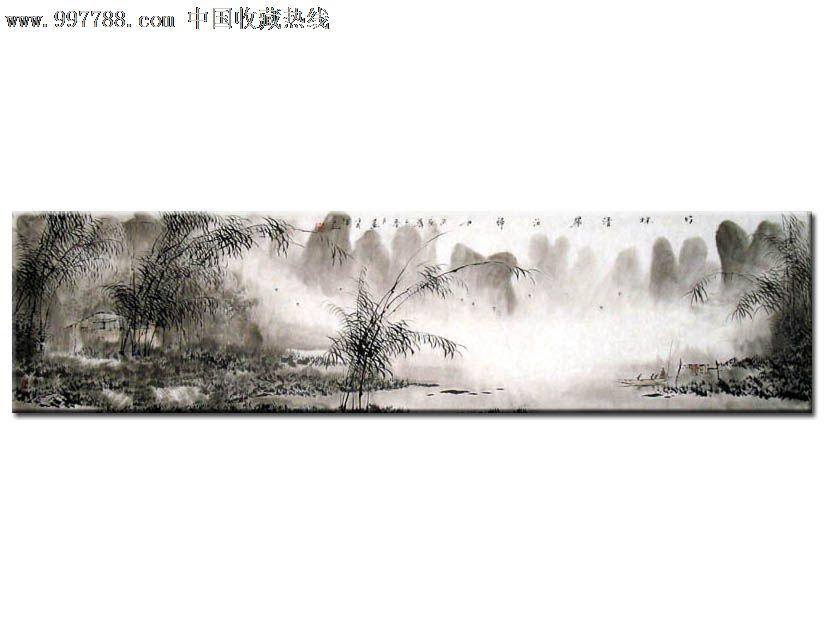 白羽/国画/山水画/四尺对开/竹林青翠/20403图片
