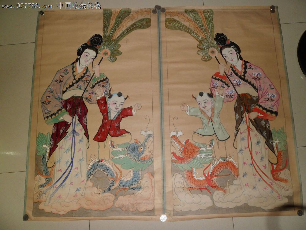 清代美女木板年画一对,尺寸:60x99cm,年画/宣传画【得宝轩】_第1张