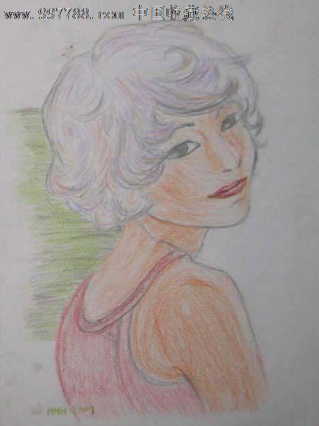 彩色铅笔画——美少女03-素描/速写--se13153352-零售