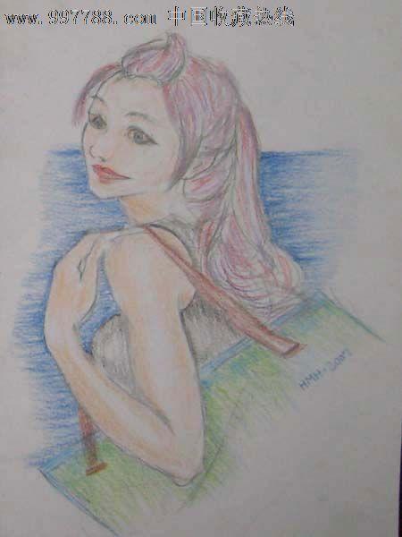 彩色铅笔画——美少女05