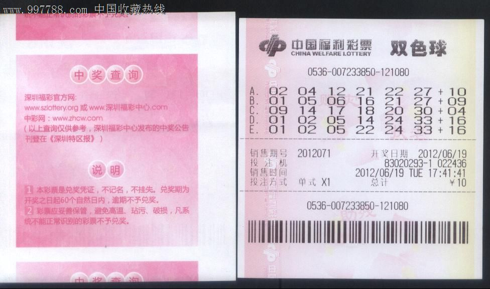 2012年5月28日启用广东深圳中国福利彩票-双色球正背面图