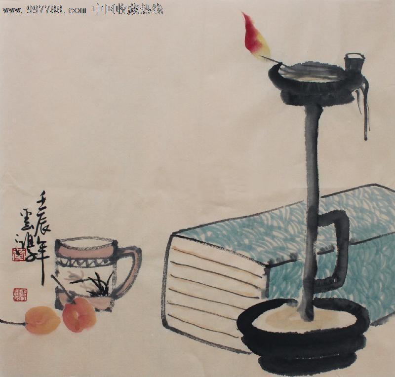 黄云鸿花鸟画,油灯静物,小斗方,精美礼品装饰画,推荐收藏,22620