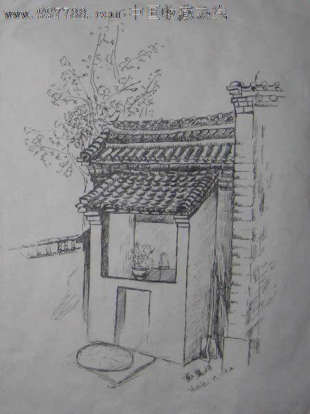 钢笔画原画,,建筑风景