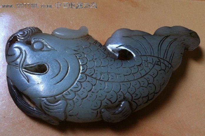 古代手工雕刻玉一块龙头鱼身