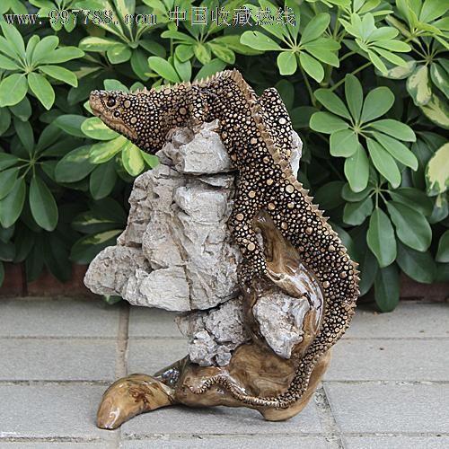 送礼佳品/天然根雕奇石/老糠木根抱石/动物吉祥摆件蜥蜴yw231