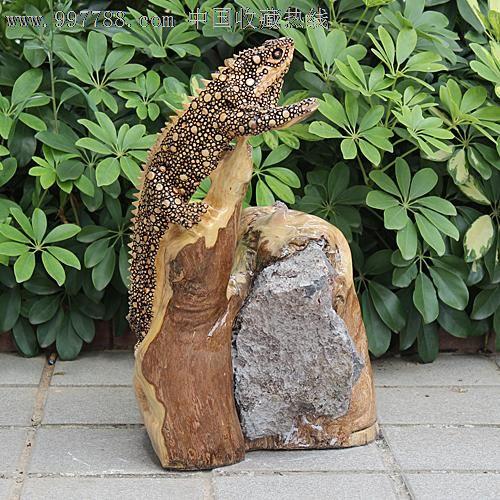 送礼佳品/天然根雕奇石/老糠木根抱石/动物吉祥摆件蜥蜴yw229