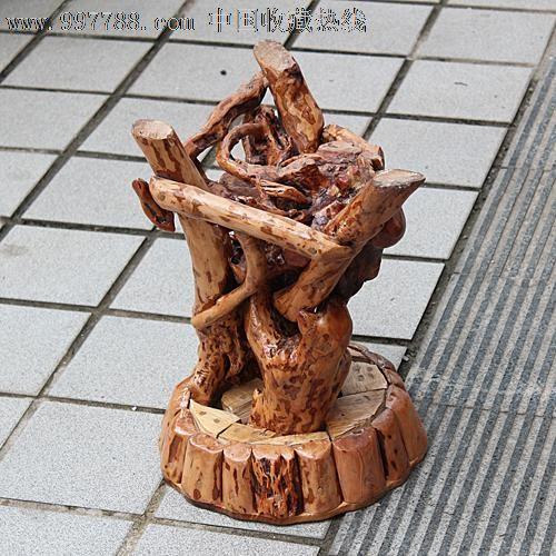 天然根雕/木雕/茶桌咖啡桌休闲圆桌/香樟木+杜鹃根五件套-ywd306