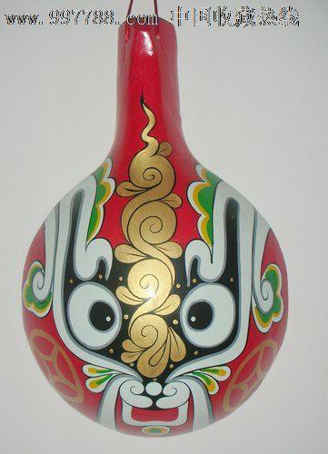 民间木质手绘社火圆形马勺脸谱家居装饰