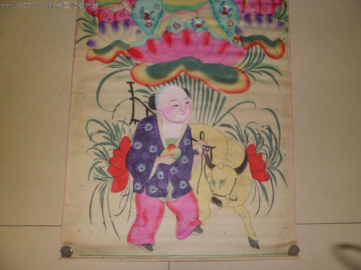 美女小孩木板年画,尺寸:55x105cm