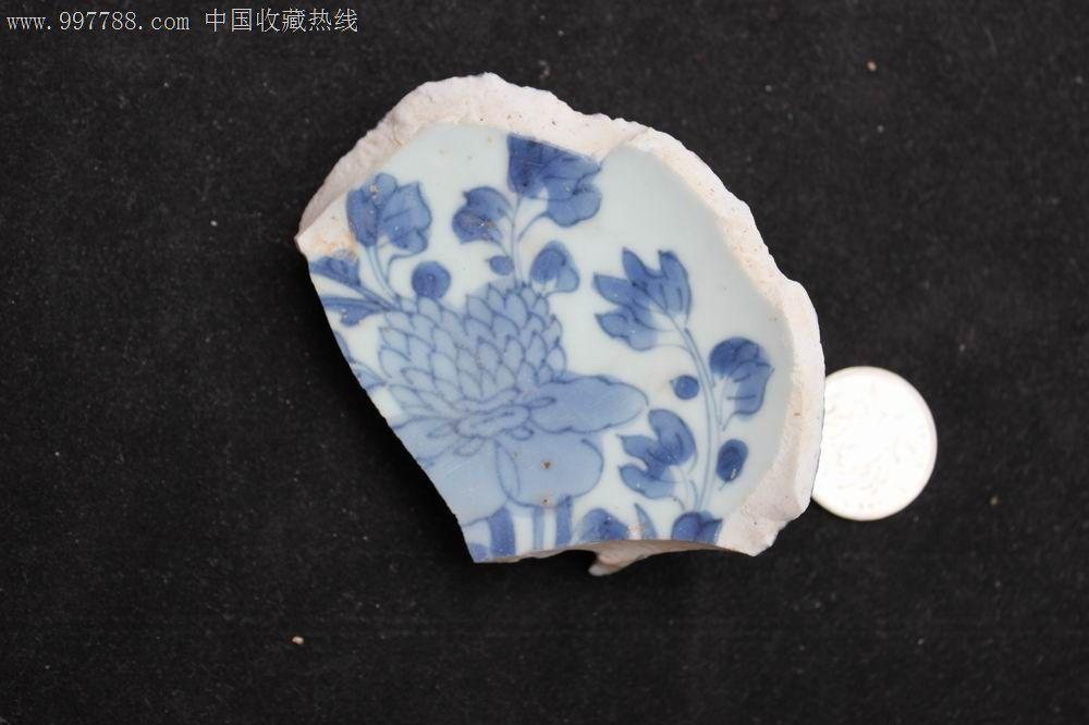 清康熙牡丹花纹图瓷片