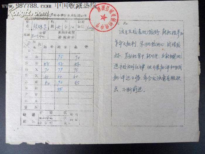 七十年代學生成績單