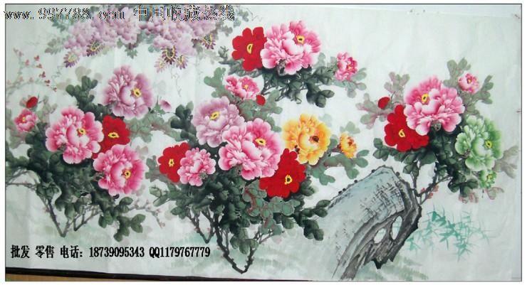 八尺牡丹画-客厅牡丹画-国画牡丹-写意牡丹画-中国画