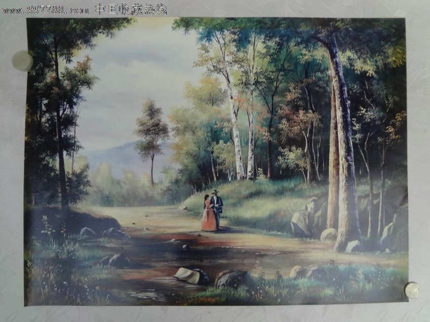 油画 印刷油画水粉画,园林 人物 山 石,很不错的题材,古典浪漫