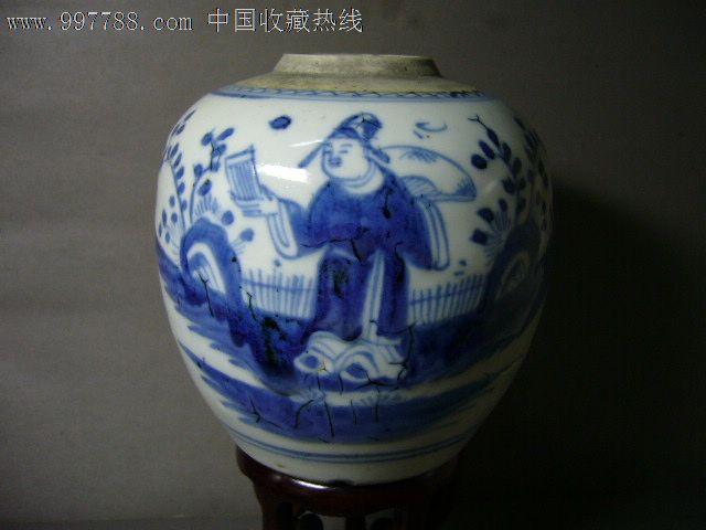 清代青花人物茶叶罐(特价)图片