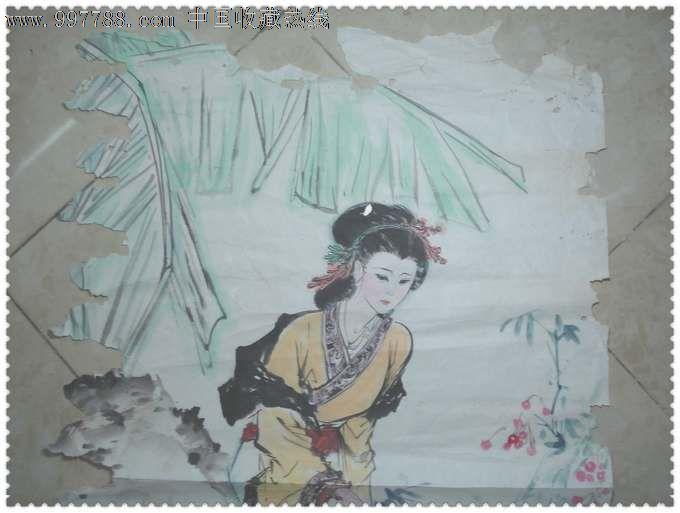 精美的大幅手绘巴蕉美女水彩画