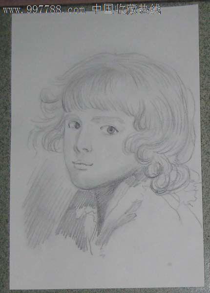铅笔画——卷发小美女