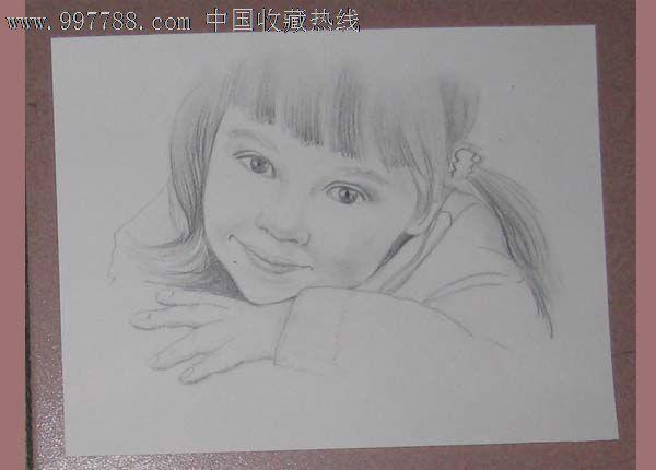 铅笔画 可爱的小美女