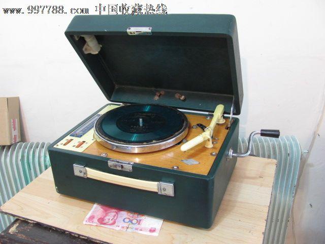 海燕713古董老手摇电唱机---留声机