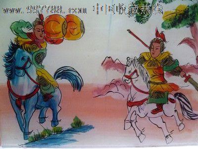 民国时期古代人物美女大战手工上彩玻璃漆画2件