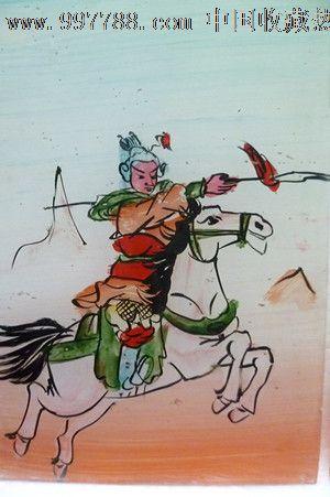 民国时期古代人物红楼梦手工上彩玻璃漆画4件