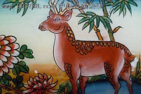 民国时期动物手工上彩玻璃漆画2件