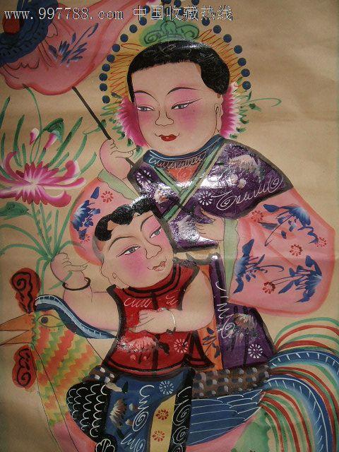 清代或民国初期手绘原作美人年画《大吉大利,母子富贵